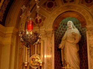 sanctuary lamp and Sacred Heart